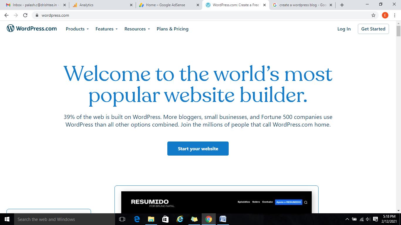 create blog in wordpress