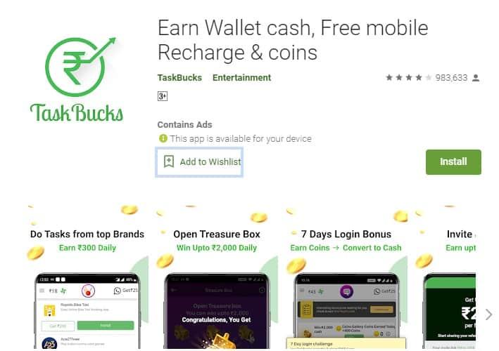 taskbucks money earning apps in india